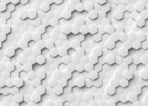 Abstract white hexagonal 3D concept art