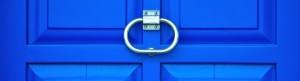 blue door with knocker