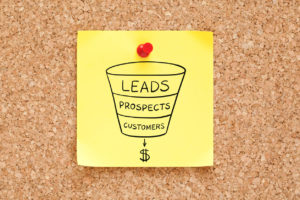 sales funnel concept on sticky note