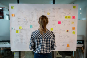 woman looking at large board for marketing efforts