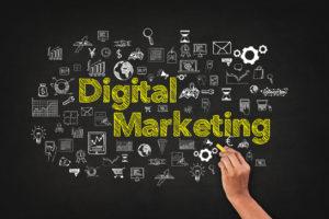 digital marketing concept on blackboard